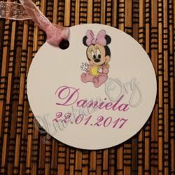 Eticheta cu bebe Minnie Mouse