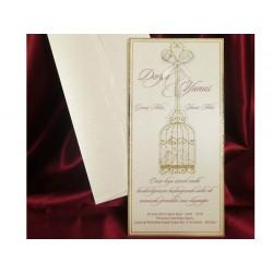 Invitatie de nunta eleganta cu colivie 5427