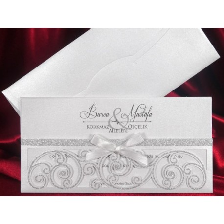 Invitatii De Nunta Vintage Cu Model Argintiu 5452