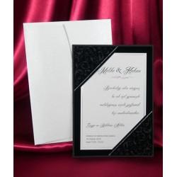 Invitatie de nunta eleganta alb-negru 3629