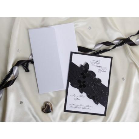 Invitatie de nunta eleganta cu flori 30075