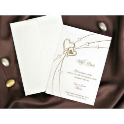 Invitatie de nunta cu inimioare aurii 30086
