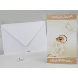 Invitatie de nunta cu trandafiri si inele 60213