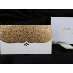 Invitatie de nunta eleganta cu model auriu 60217
