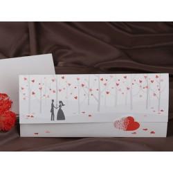 Invitatie de nunta cu miri si copacei cu inimioare 60231