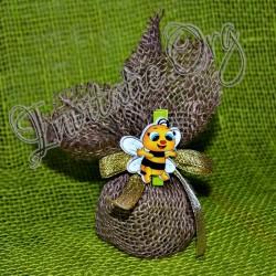 Marturie botez Borcanel cu miere rustic cu albinuta
