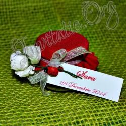 Marturie nunta Borcanel cu miere rosu cu floricele