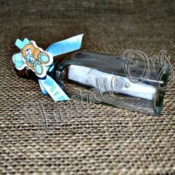 Invitatie botez handmade sticluta cu ravas si ursulet bleu
