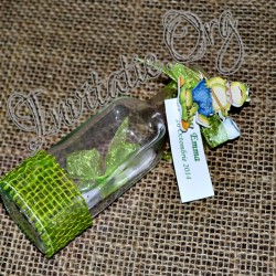 Invitatie botez handmade sticluta cu ravas verde si broscuta