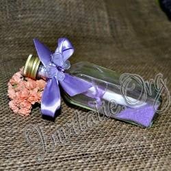 Invitatie botez handmade sticluta cu ravas mov-lila si fluturas