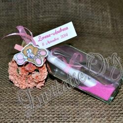 Invitatie botez handmade sticluta cu ravas roz, ursulet si nisip