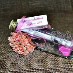 Invitatie botez handmade sticluta cu ravas roz
