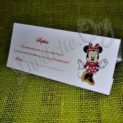 Plic de bani botez Minnie Mouse rosu