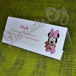 Plic de bani botez bebe Minnie Mouse cu ursulet