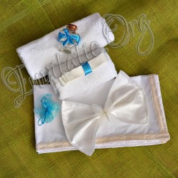 Trusou de botez bleu cu buline albe
