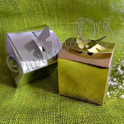 Cutii prajituri cu fluture 3D aurii si argintii mari