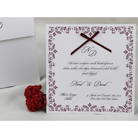 Invitatii Pentru Nunta Elegante Cu Model Floral Si Fundita Bordo 60283