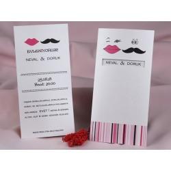 Invitatie de nunta haioasa cu buze si mustata 60313
