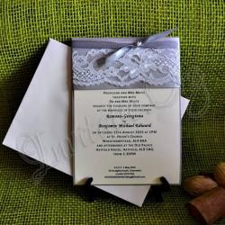 Invitatie Handmade Ivoire cu Dantela