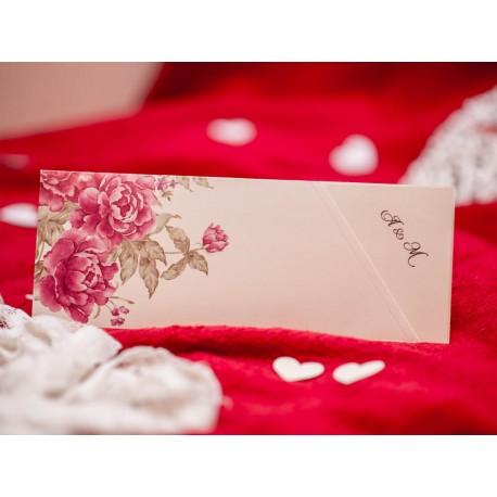 Invitatii Nunta Elegante Si Vintage Cu Flori Bujori Roz 5491