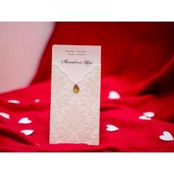 Invitatie de nunta vintage cu catifea si pietricica 5495