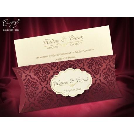 Invitatii Nunta Mea Elegante Cu Insertii De Catifea Visinie 5504
