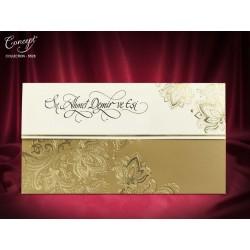 Invitatie de nunta eleganta cu model floral auriu 5528