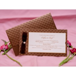 Invitatie de nunta cu fundita si perla 1743