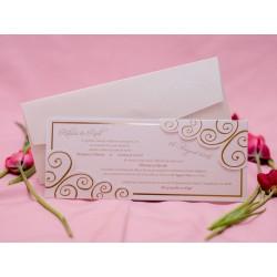 Invitatie de nunta eleganta cu model auriu 1779