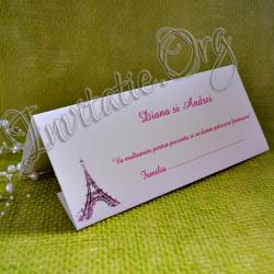 Plic de bani Turn Eiffel cu flori roz