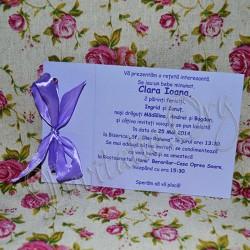 Invitatie botez Handmade mov cu fundita