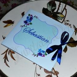 Invitatie Handmade eleganta cu flori bleumarine