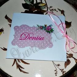 Invitatie Handmade eleganta cu flori roz