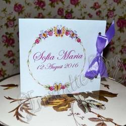 Invitatie Handmade eleganta cu coronita din flori