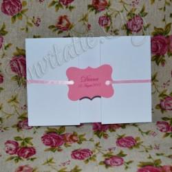 Invitatie Handmade eleganta roz