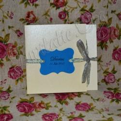 Invitatie Handmade eleganta bleumarine-argintiu