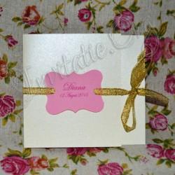 Invitatie Handmade eleganta roz-auriu