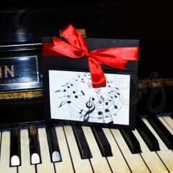 Invitatie Handmade cu Partitura - Tema muzicala