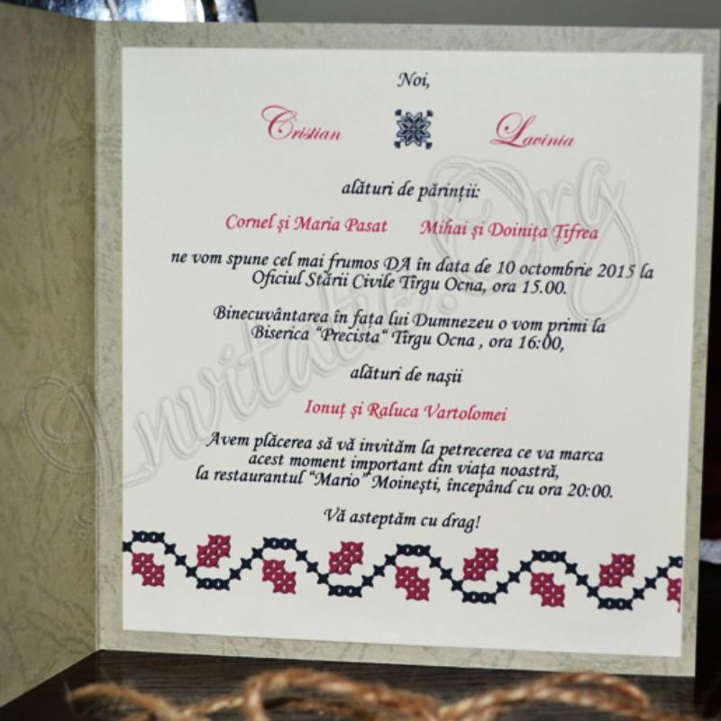 Invitatie Handmade Traditionala Invitatie Handmade Cu Motiv Romanesc