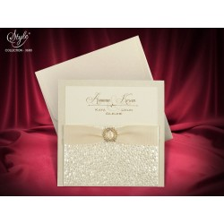 Invitatie de nunta eleganta cu fundita 3680
