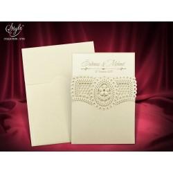Invitatie de nunta cu model dantelat 3703