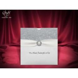 Invitatie de nunta eleganta cu argintiu 3665
