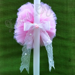 Lumanare de botez cu Pompon roz si dantela