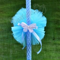Lumanare de botez cu Pompon albastru si fluture