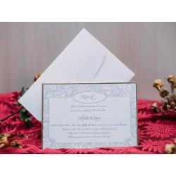 Invitatie de nunta vintage cu model argintiu 50507