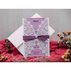 Invitatie de nunta eleganta cu model dantelat 50538