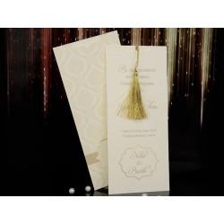 Invitatie de nunta eleganta cu ciucuras auriu 15100