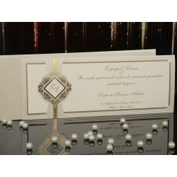 Invitatie de nunta vintage cu model auriu 15004
