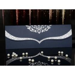 Invitatie de nunta eleganta cu model argintiu 15011