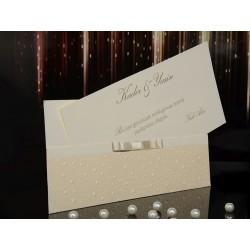 Invitatie de nunta cu model in relief si fundita 15012